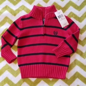 Chaps Red & Black Striped Sweater 18 Months NWT